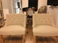 Two cream dunelm chairs / set of French tub chairs / modern chairs / Antoinette chairs