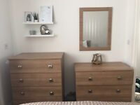 Bedroom furniture including 2 drawers, 2 bedside tables and a mirror