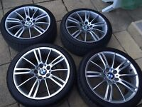 "GENUINE BMW E90 E91 3 Series 18"" MV3 193 M Sport Staggered Alloy Wheels & Tyres"