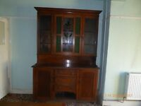 victorian dresser with stained glass panels