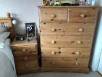 Bedside drawers and tall boy drawers solid pine