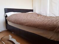 Chocolate brown faux leather double bed frame £50 ono