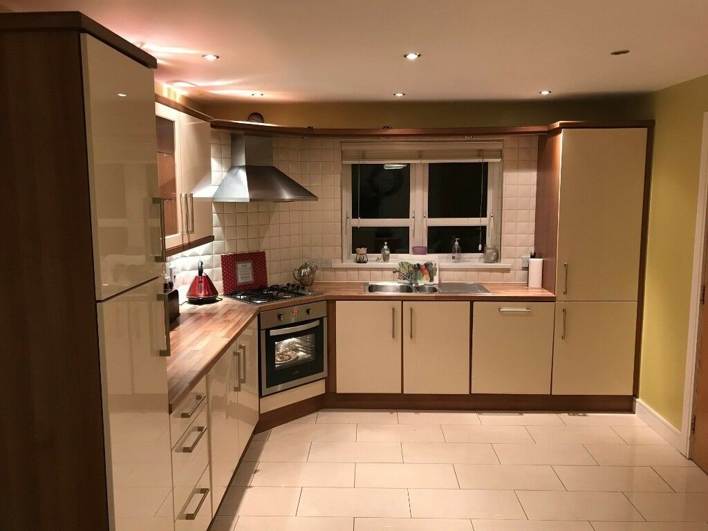 Cream And Brown Kitchen Units And Worktop In Lisburn