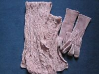 Marks and Spencer Set of Cosy Sparkly Pink Gloves and Matching Scarf