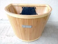 (1608) SUNLITE WICKER CANE BASKET FOR MOST ADULT BIKES; FRONT BICYCLE BASKET
