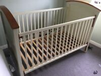 Cot bed combed cream and pine wooden