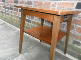 vintage retro side/coffee table with shelf
