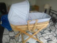 ladybird blue moses basket and stand.