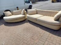large 2 seater cream leather sofa with fabric removable washable cushions plus large cuddle chair