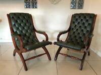 VINTAGE PAIR BUTTONED CHESTERFIELD LIBRARY / SLIPPER CHAIRS - PARLIAMENT GREEN