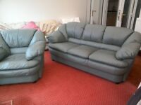 Three seater leather Settee and Armchair
