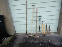 Assorted garden hand tools
