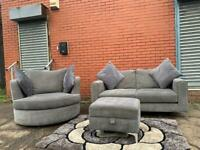 Sold pending Beautiful grey DFS Sofa set & foot stool delivery 🚚 sofa suite couch furniture