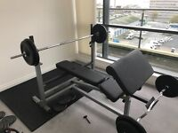 heavy duty bench and weights bars etc