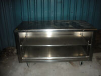 Stainless steel table and cabinet