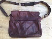 Beautiful dark tan leather bag