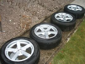 "4 x 16"" Fox Alloy wheels and tyres for VW group car. Tyres between 5 and 6mm tread .Good order."