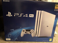 PS4 Pro 1TB White in mint condition like new Boxed with controller & 4 games
