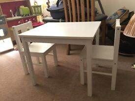 White wood ikea kids table and chairs