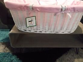 Obaby Deluxe Padded White Wicker Moses Basket & Clair De Lune Wooden Moses Basket Rocking Stand