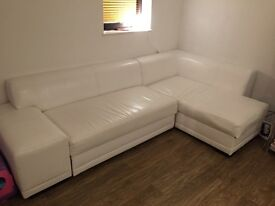 Sofa bed faux leather white