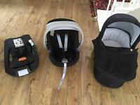 Cybex Aton baby seat, isofix base and carrycot, including adaptors