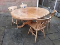 Farmhouse solid pine extending dining table with refurbished top, and 4 chairs, seats 8, can deliver