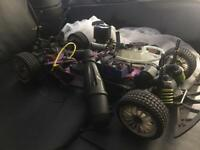 1/10 Cen 2 Speed Nitro Rc Car. Needs Engine & Few Other Bits Putting Back On. They Come With It.
