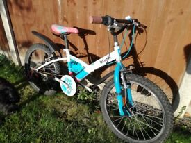 Child's bicycle bike Btwin blue and white, would suit 8 to 12 year old