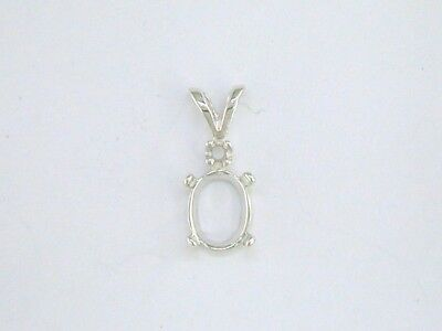 Oval Cabochon Accent - Oval Single Accent Cabochon Pendant Setting Sterling Silver