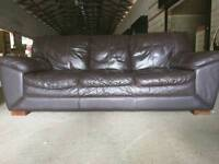 3+2 BROWN LEATHER SOFA FREE DELIVERY