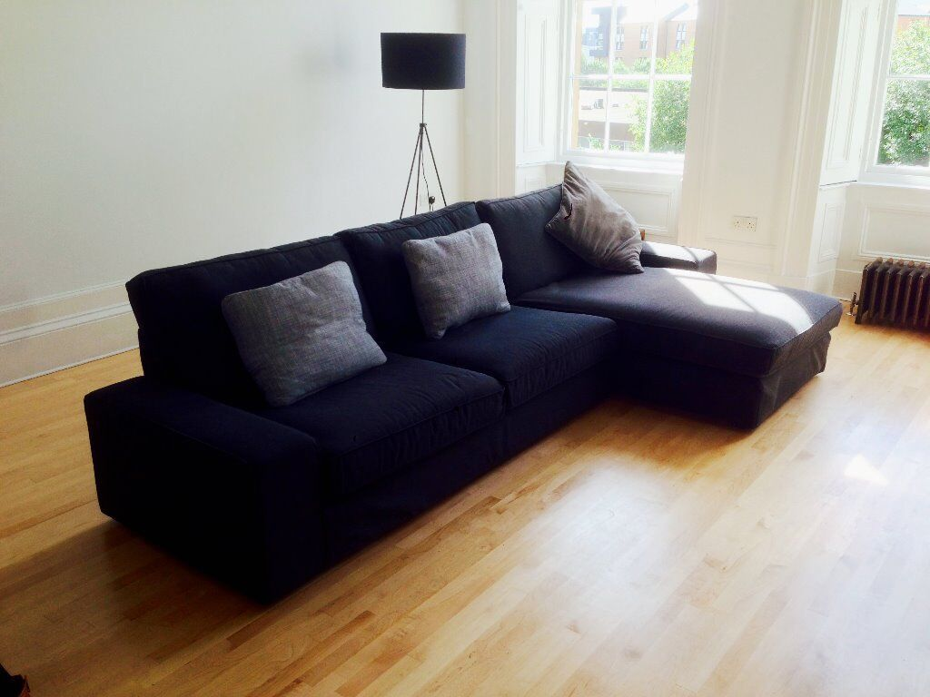 Ikea Kivik 3 Seater Corner Chaise Longue Sofa Dark Grey