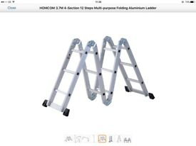 HOMCOM 3.7M 4-Section 12 Steps Multipurpose Folding Aluminium Ladder