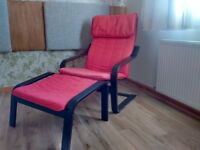 2 Ikea Poang chairs and 2 footstools in red. £30 each set.