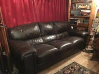 Three seater brown Italian leather sofa