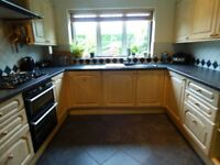 FULLY FITTED KITCHEN INCLUDING BUILT UNDER DOUBLE OVEN 3 CHAIRS ONE DAMAGED
