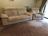 Ponsford Cream Leather 3 Seater Sofa and Electric Reclining Chair
