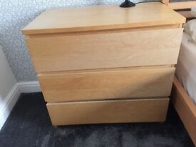 Ikea malm 3 drawer unit