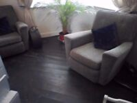 Retro grey tweed fabric 50's shabby chic vintage club arm chair chairs 2 available