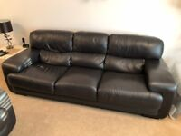 Two and Three Seater Brown Italian Leather Sofas