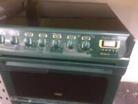 Green creda 55cm ceramic hob electric cooker grill & double fan assisted ovens good condition with g