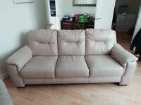 Leather 3 seater sofa, electric recliner chair and foot stool storage poof