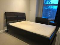 IKEA double bedroom set, bed, drawers, side table