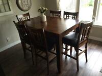 Solid wood- Bar height- Kitchen table and 8 chairs