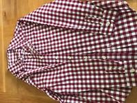 Boys long sleeved burgundy checked shirt