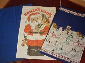 THREE IMMACULATE LARGE FABRIC CHRISTMAS SACKS.