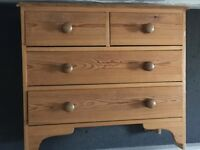 Wooden chest of drawers. 83cm wide x 45cm deep x 73cm high. 4 drawers. Very cute!