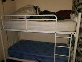 Kids metal bunk bed with mattresses