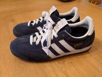 Size 7 Adidas Samba blue suede trainers, only worn once and as nearly new