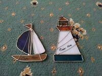 Cape Cod sea lighthouse sail boat North america Boston stain glass window usa american beach sand